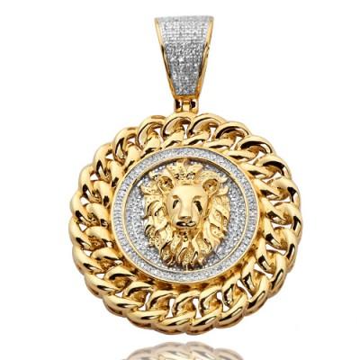 10K Diamond Lion Head Medallion with Miami Cuban Border (0.50ct)