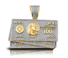 10K Diamond $100 Money Stack Pendant (1.50ct)