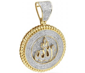 10K Diamond Allah Medallion Pendant With Miami Cuban Border (1.00ct)