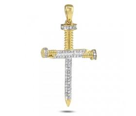 10K Diamond Nail Cross Pendant (0.30ct)