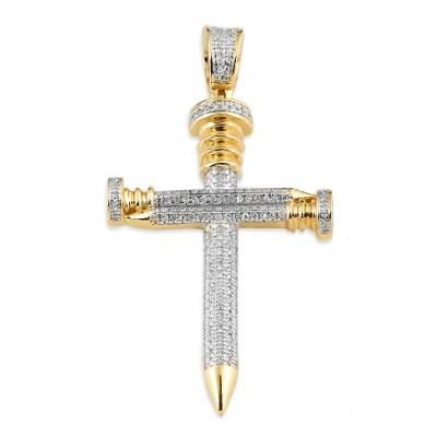 10K Diamond Nail Cross Pendant (0.50ct)