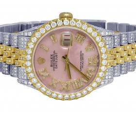 Rolex Datejust 18k TwoTone 13cts Diamonds 16233 | 36MM | Diamond Roman Pink Dial